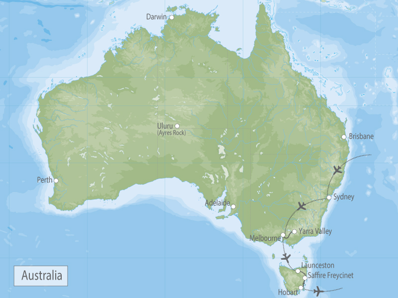 Australia Best Kept Secrets of Sydney, Melbourne & Tasmania map