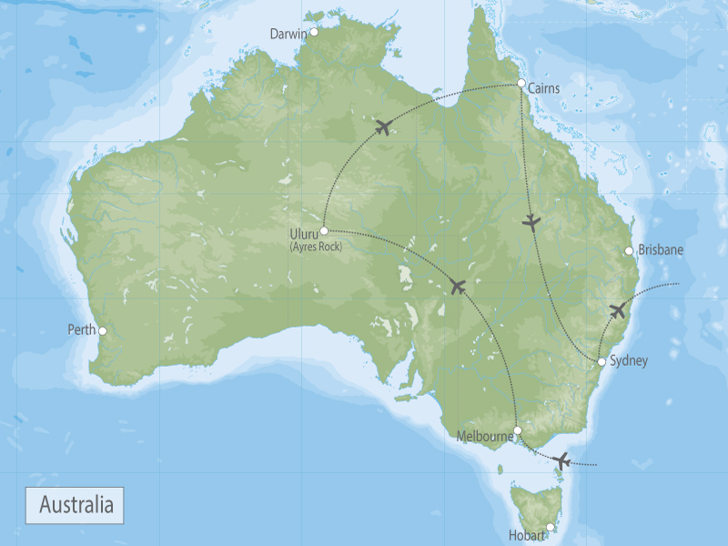 Australia Vacation Melbourne, Uluru, Reef & Sydney Highlights map