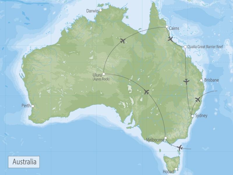 Australian Luxury Vacation Melbourne, Uluru, Reef & Sydney map
