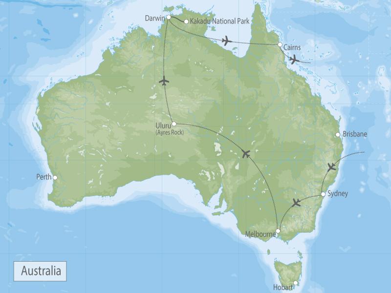 Australian Outback Adventure Kakadu, Uluru, Reef, Sydney & Melbourne map