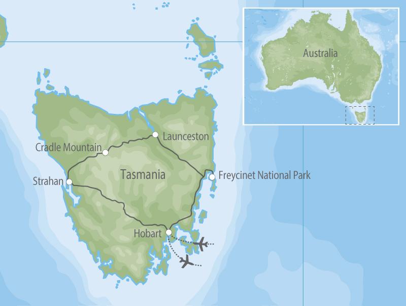 Classic Tasmania map