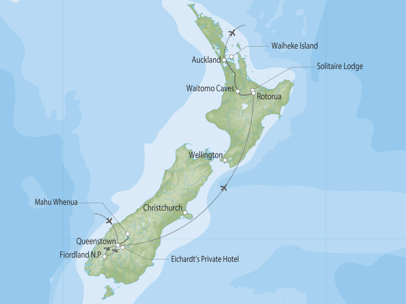 Feast of the Senses North and South Islands map
