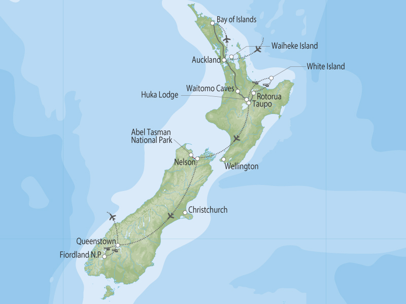 Fly Savor Sip & Sail Luxury New Zealand map