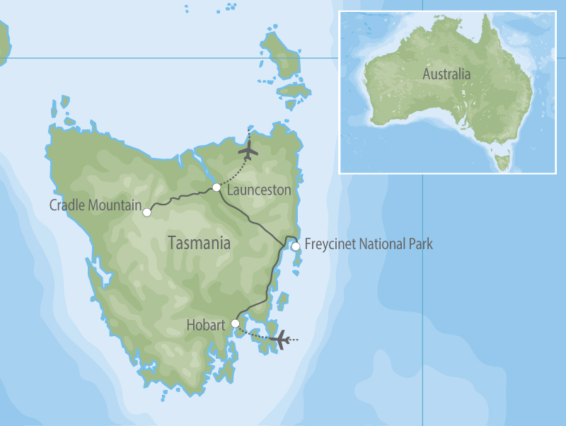Freycinet & Cradle Mountain map