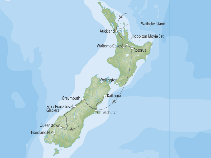 Highlights of New Zealand by Coach and Rail map