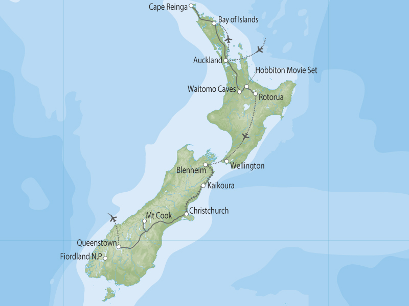 Journeys South - Bay of Islands to Queenstown by Coach & Rail map