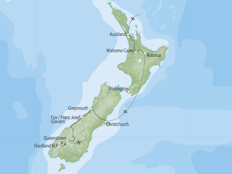New Zealand Adrenaline Junky Adventure Package  map