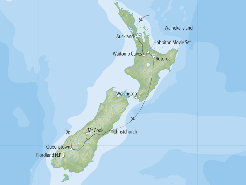 New Zealand Express by Coach map