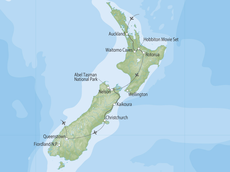 New Zealand Family Adventure map