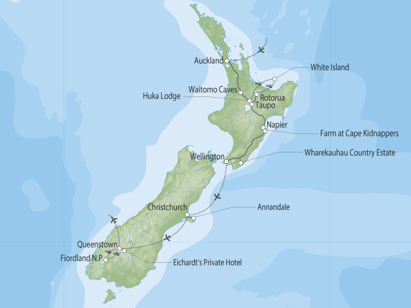 New Zealand off the beaten luxury Track map