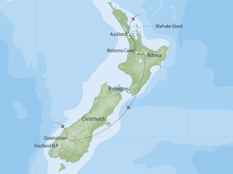 Scenic New Zealand South to North map