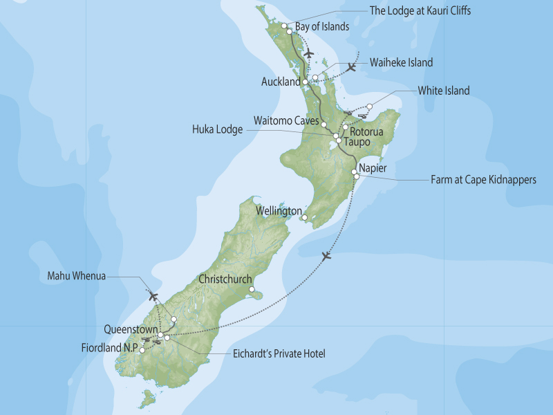 Steph's Dream Trip to New Zealand map