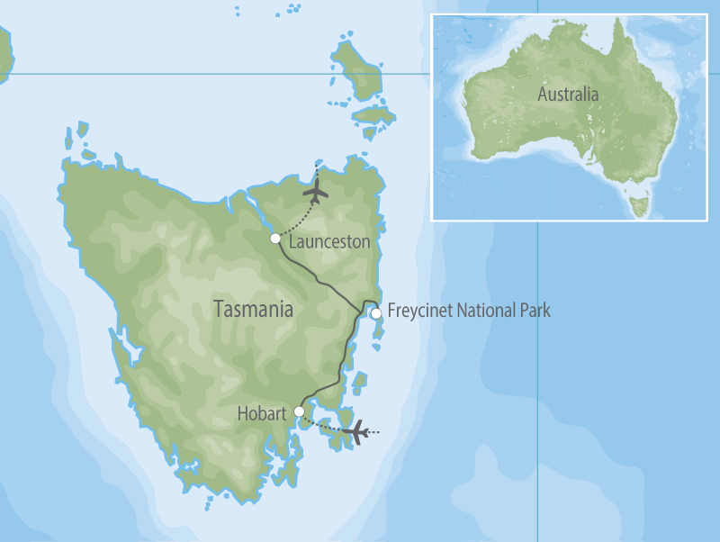 Tasmania Food Wine & Wildlife map