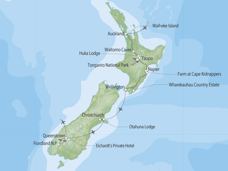 Unforgettable New Zealand map