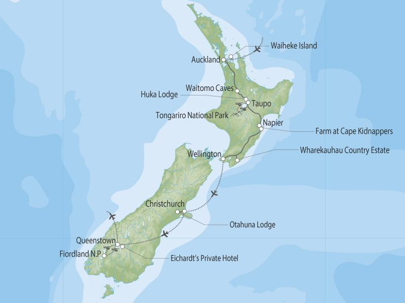 Unforgettable New Zealand map