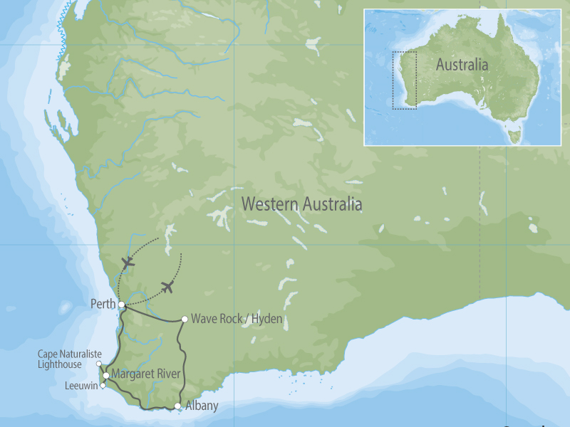 Western Australia Margaret River and Wave Rock map
