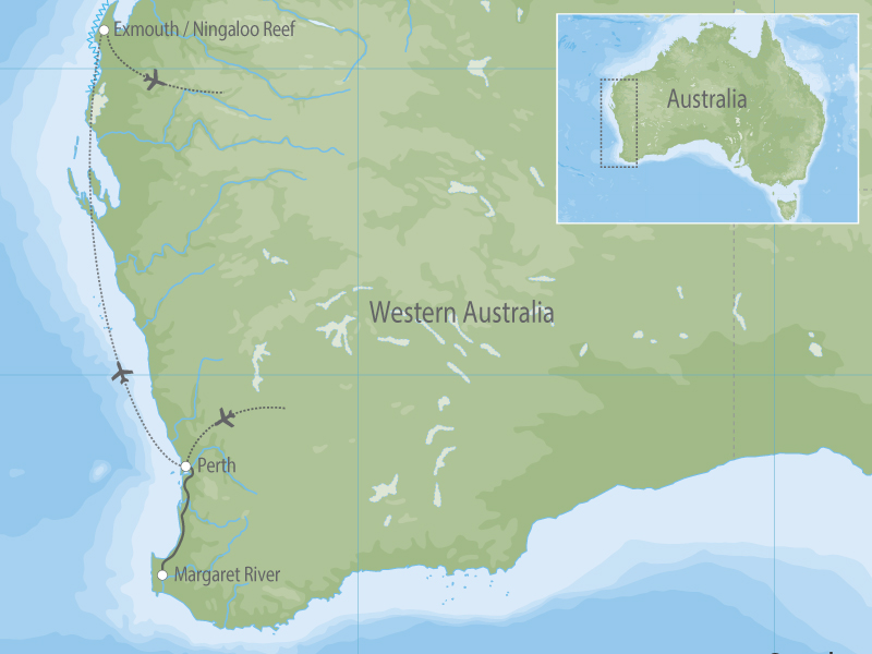 Western Australia Margaret River & Swim with the Whale Sharks map